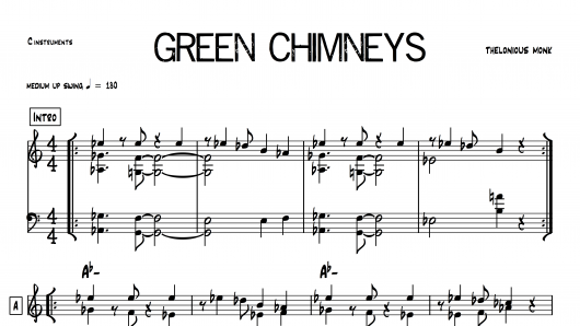 Green Chimneys Thelonious Monk PDF download lead sheet partition