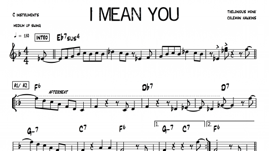 I Mean You Thelonious Monk PDF download lead sheet partition