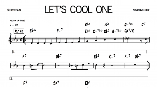 Let's Cool One Thelonious Monk PDF download lead sheet partition