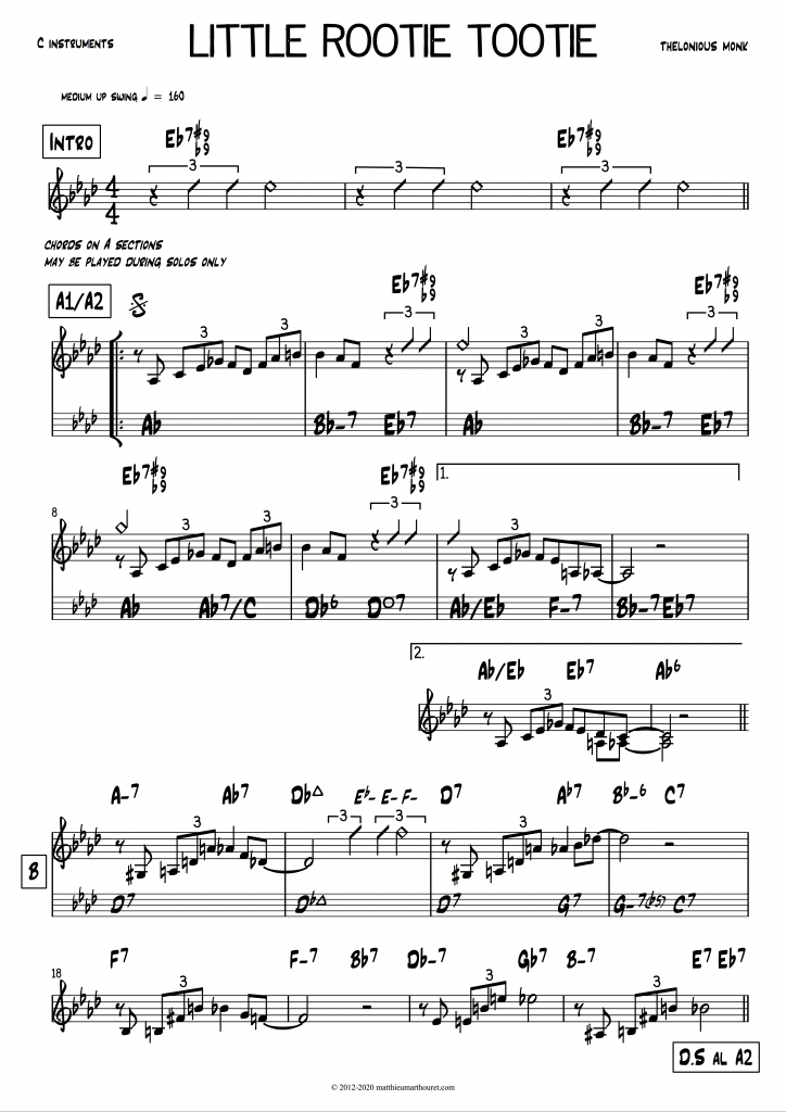 Little Rootie Tootie Thelonious Monk PDF download lead sheet partition