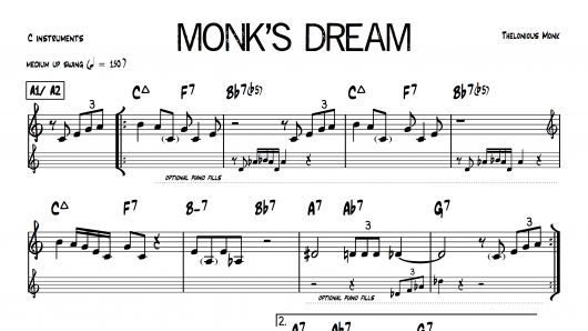 Monk's Dream Thelonious PDF download lead sheet partition