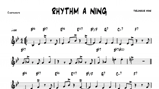 Rhythm a ning Thelonious Monk PDF download lead sheet partition