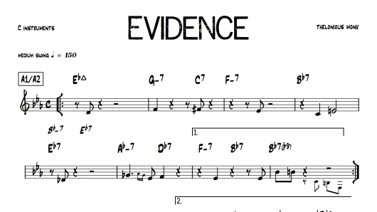 Evidence Thelonious Monk PDF download lead sheet partition