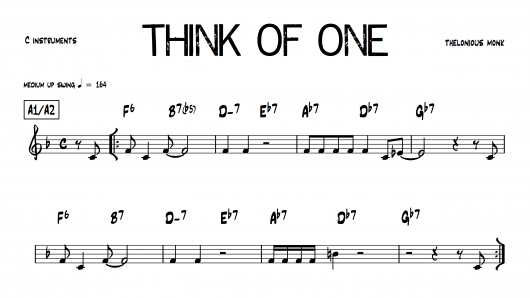 Think Of One Thelonious Monk PDF download lead sheet partition