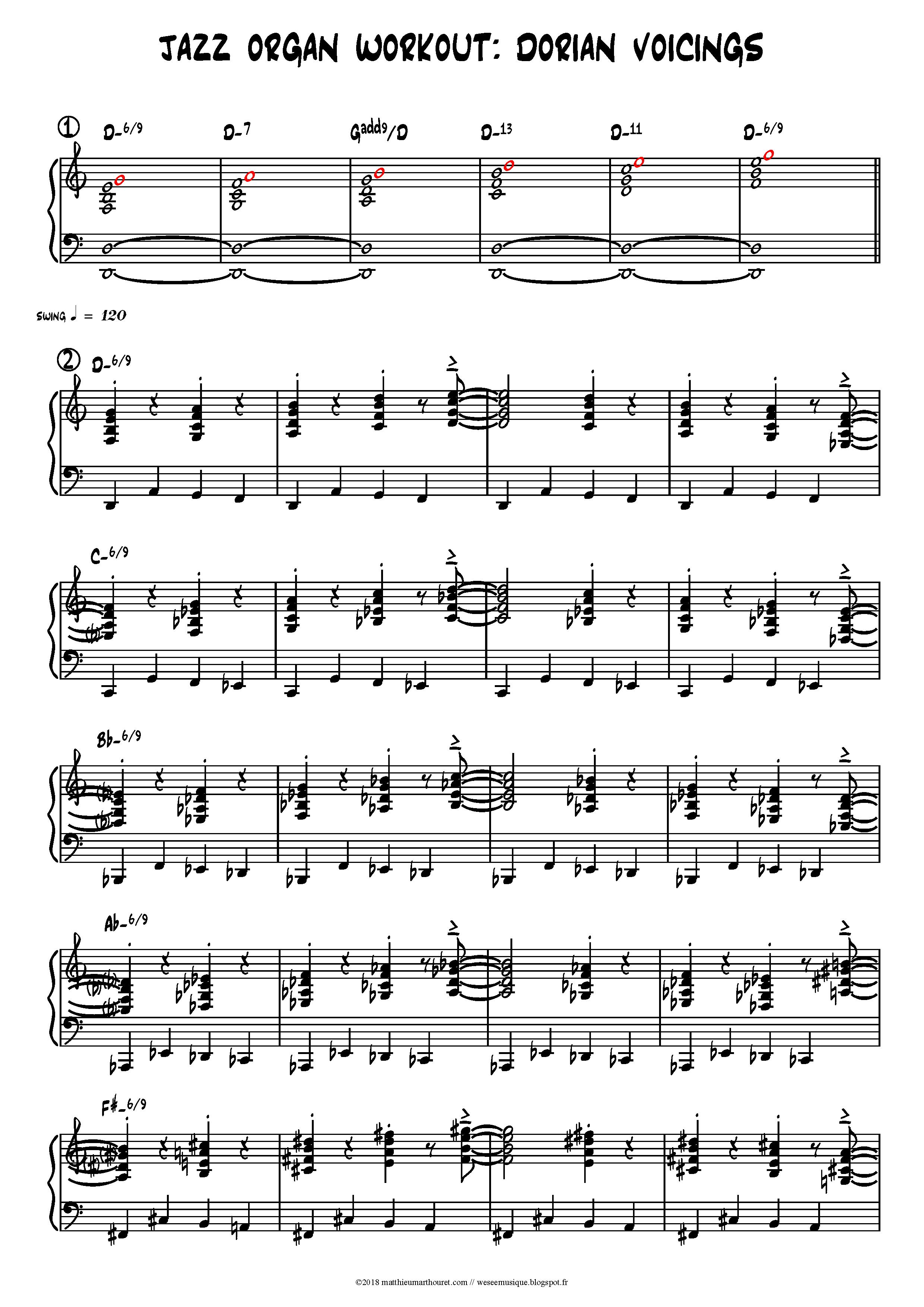 jazz organ workout dorian voicings 1