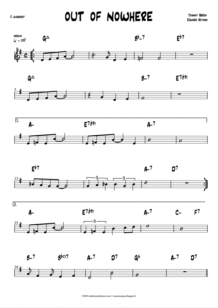 Out Of Nowehere leadsheet download